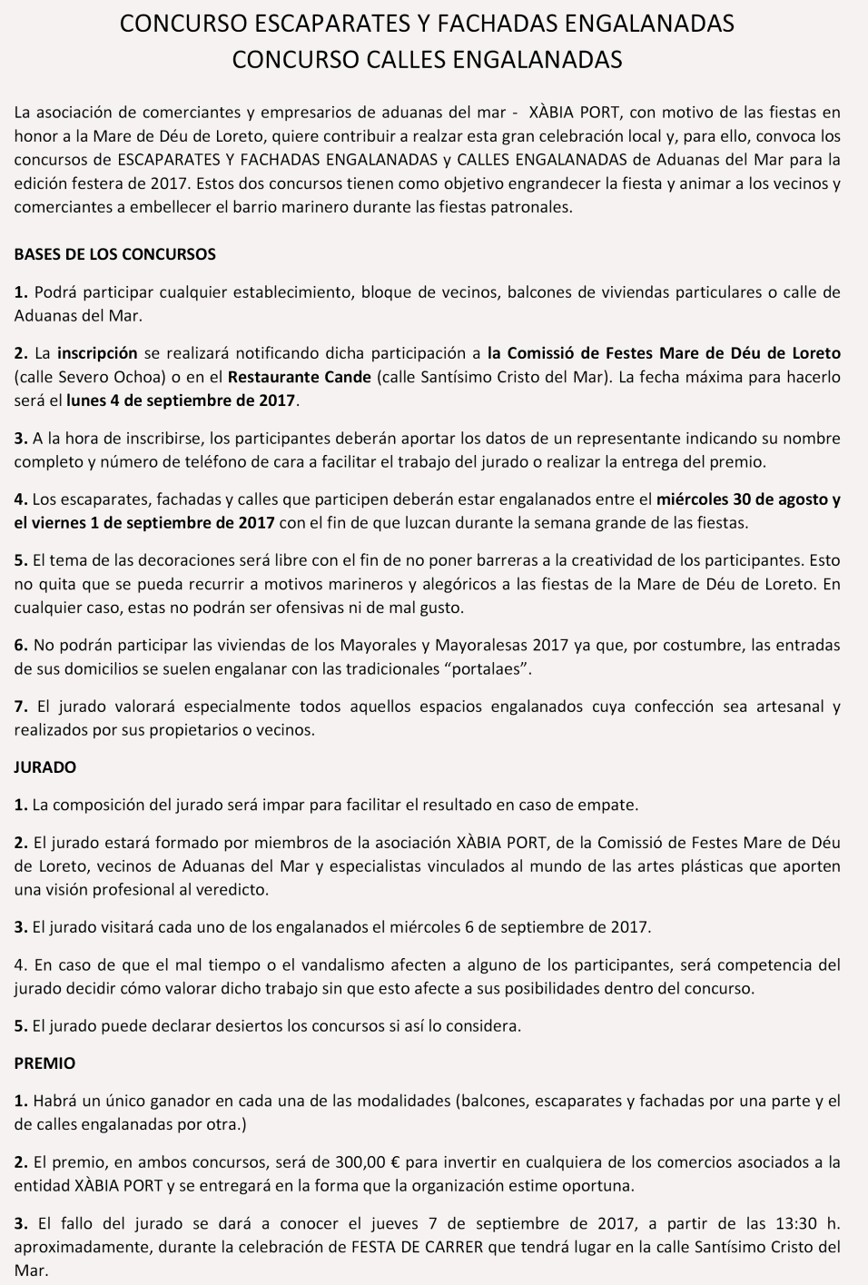 Bases Concursos Engalanados XÀBIA PORT Mare de Déu de Loreto 2